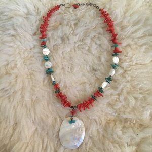 Vintage Orange Stone + Shell Necklace